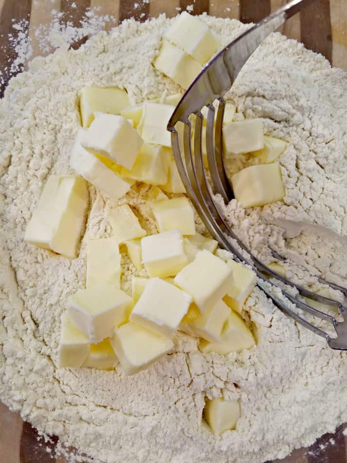 Use Pastry Cutter to cut the butter into the dry ingredients for buttermilk biscuits