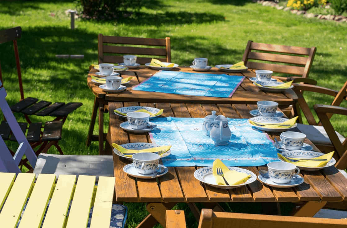 Backyard Party with plates and dishes