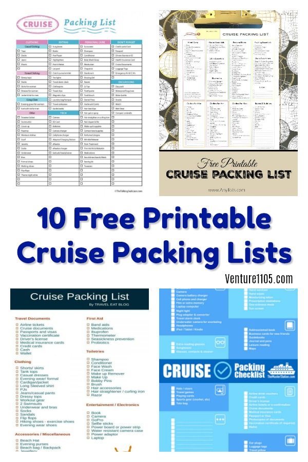 10 Free Printable Cruise Packing Lists