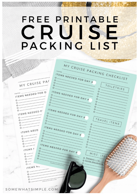 Free Customizable Cruise Packing List from Somewhat Simple
