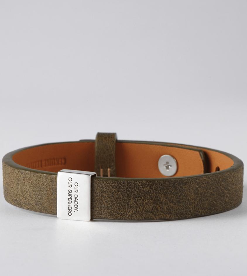 Engraved Leather Bracelet for Dads
