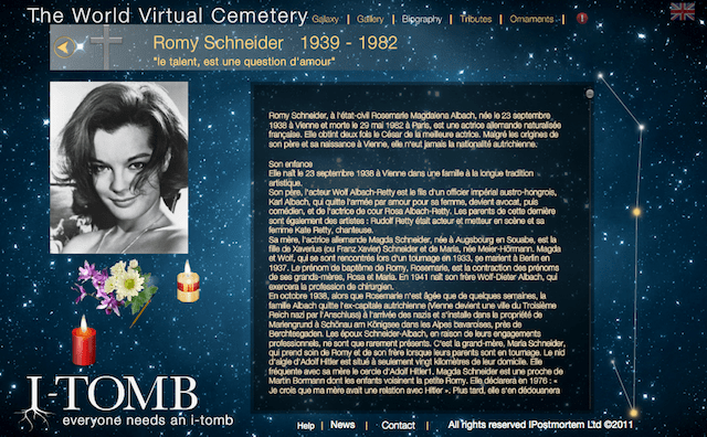 Screenshot of an i-Tomb biography page