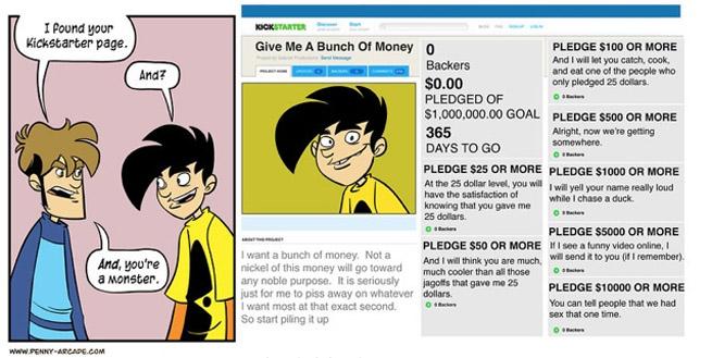 Comic about a fake Kickstarter