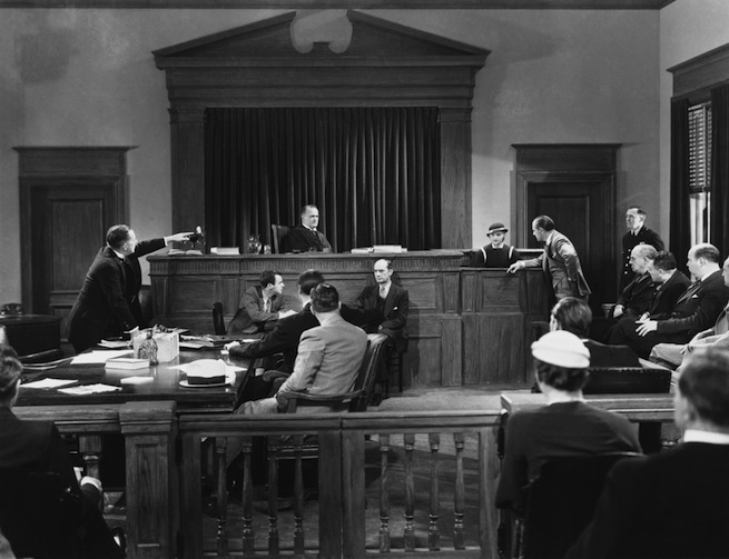 Black and white courtroom scene