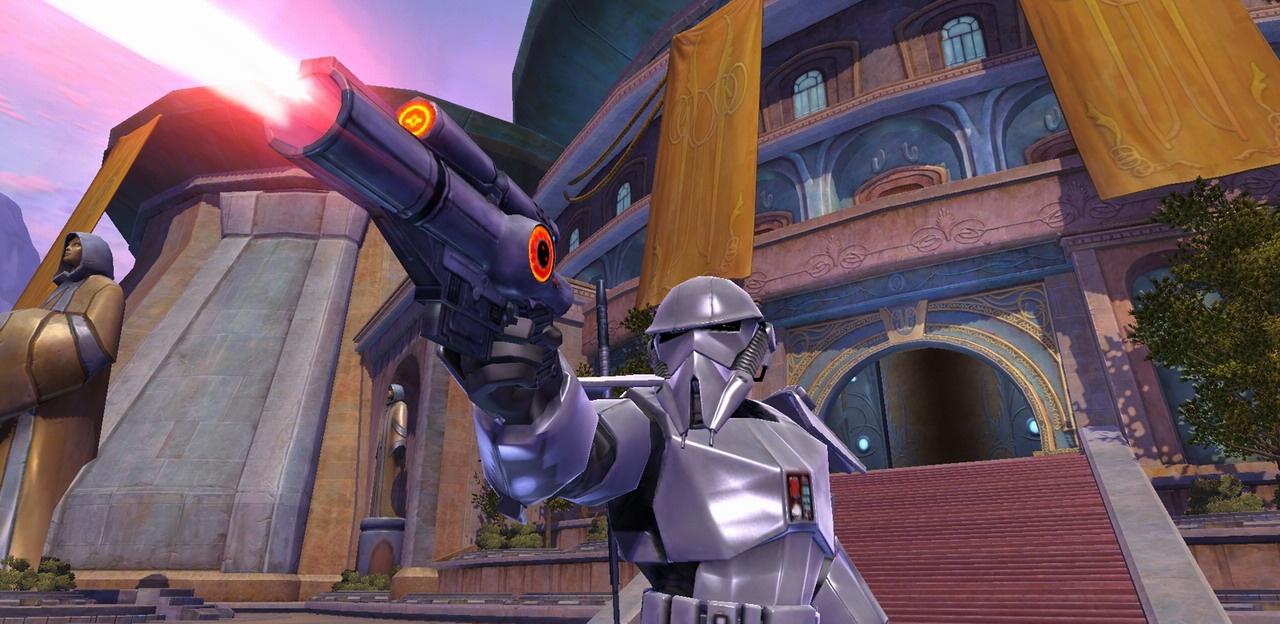 A trooper firing a blaster in Star Wars: The Old Republic.