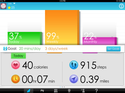 Goji Play stats screen shows you how close you are to your goals.