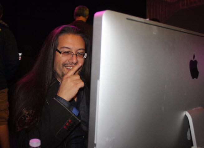 John Romero playing Doom at 20th anniversary event.