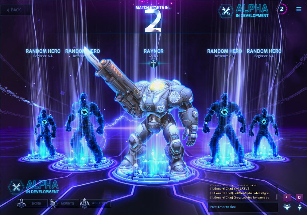 A picture of a team composition screen from Heroes of the Storm. The player's character is shown towards the front of the screen, and icons of the other players are paired off to the right and left, behind the main character's avatar.