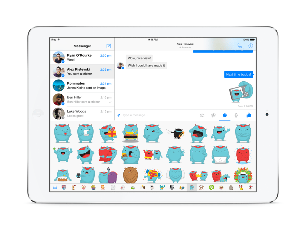 Facebook Messenger for iPad support stickers, like the smartphone version of the app.