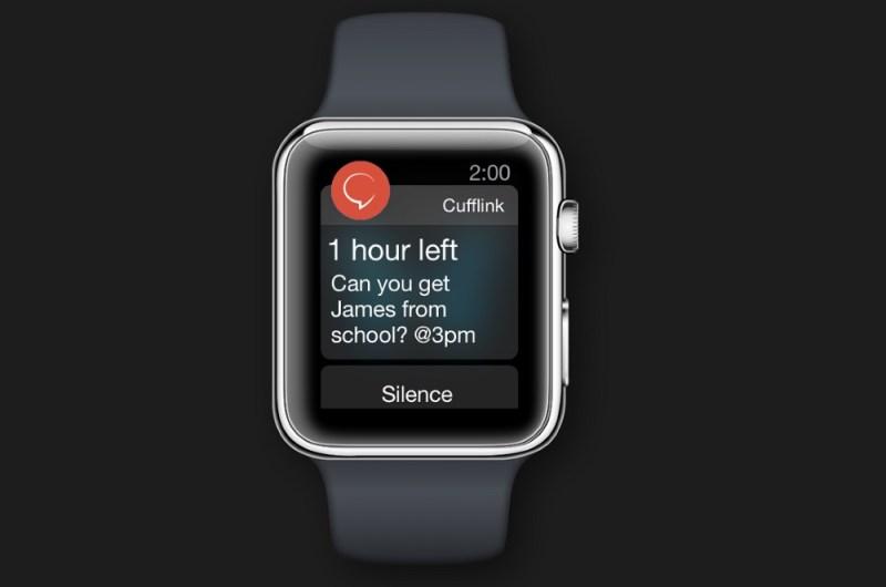 Notification from Cufflink app on Apple Watch