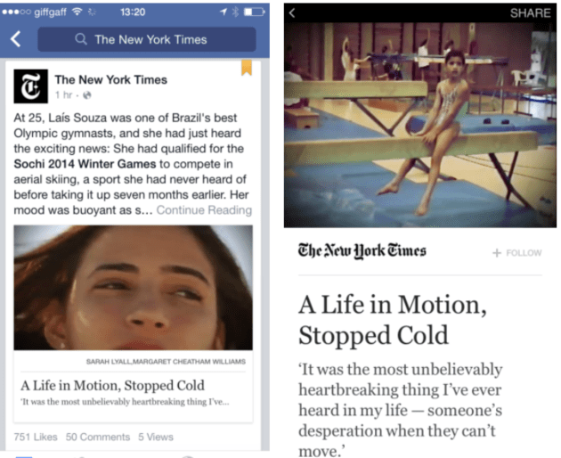 Instant Article: In News Feed vs. Full Read Mode