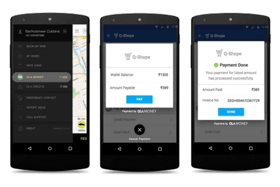 Ola Money mobile app on Android