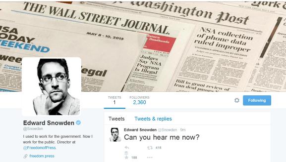 Edward Snowden on Twitter