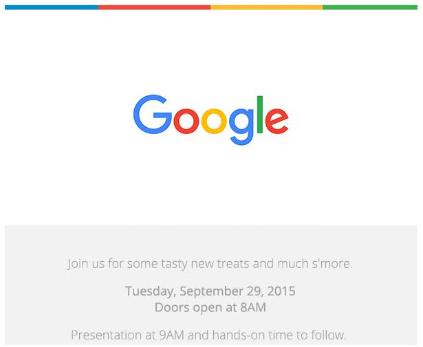 The invitation for Google's September 29 event in San Francisco.