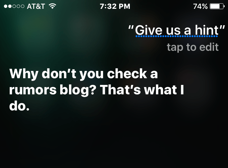 Siri, on an iPhone 6S running iOS 9, won't reveal Apple's launch plans