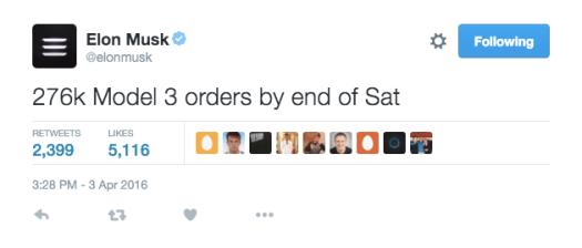 Tesla Model 3 267,000 orders