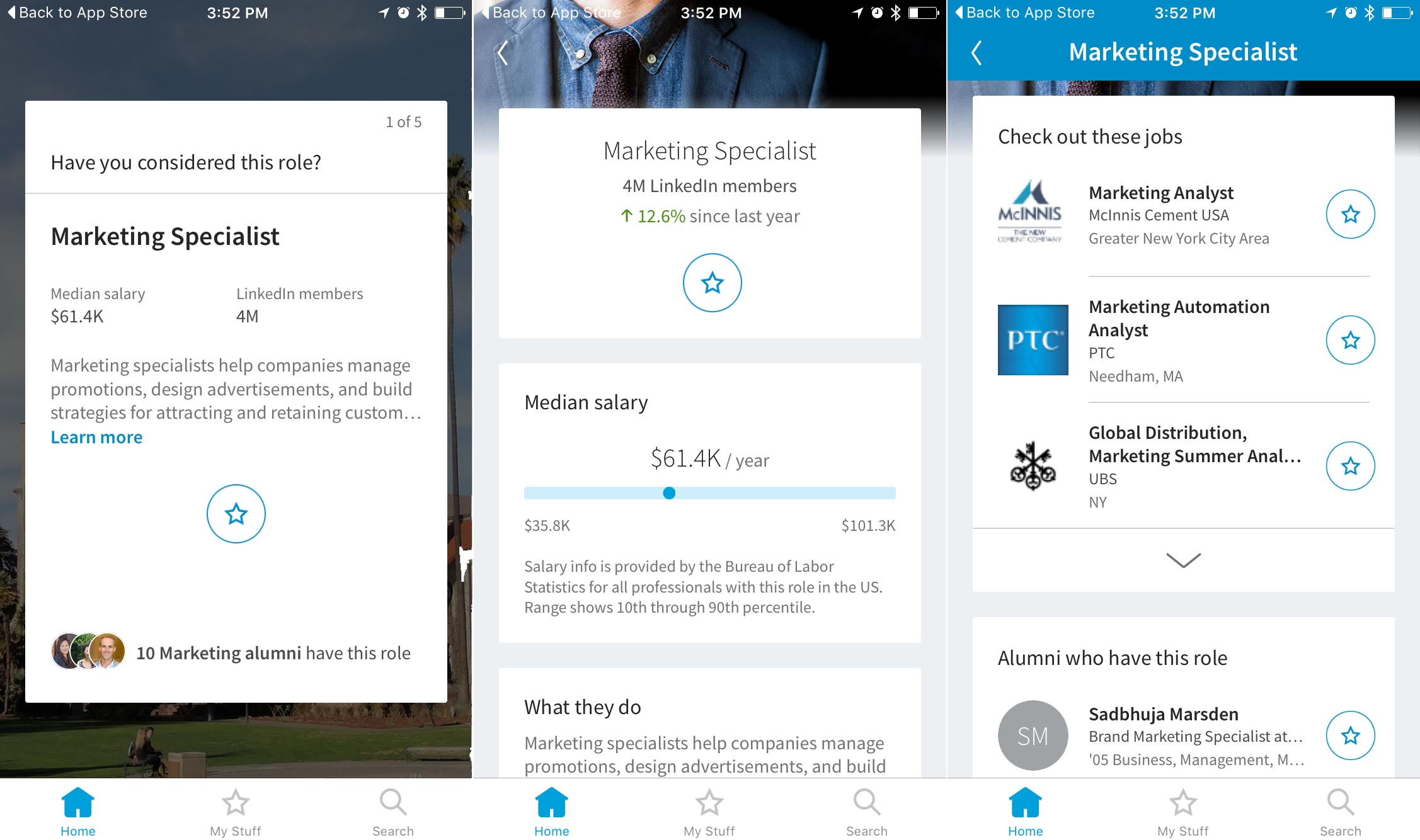 linkedin s newest app helps college grads jobs venturebeat above screenshots of linkedin students ios app displaying roles you might be interested in
