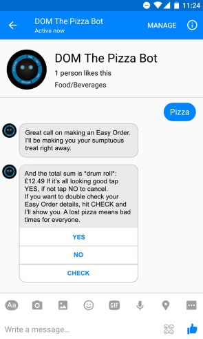 Domino's on Facebook Messenger