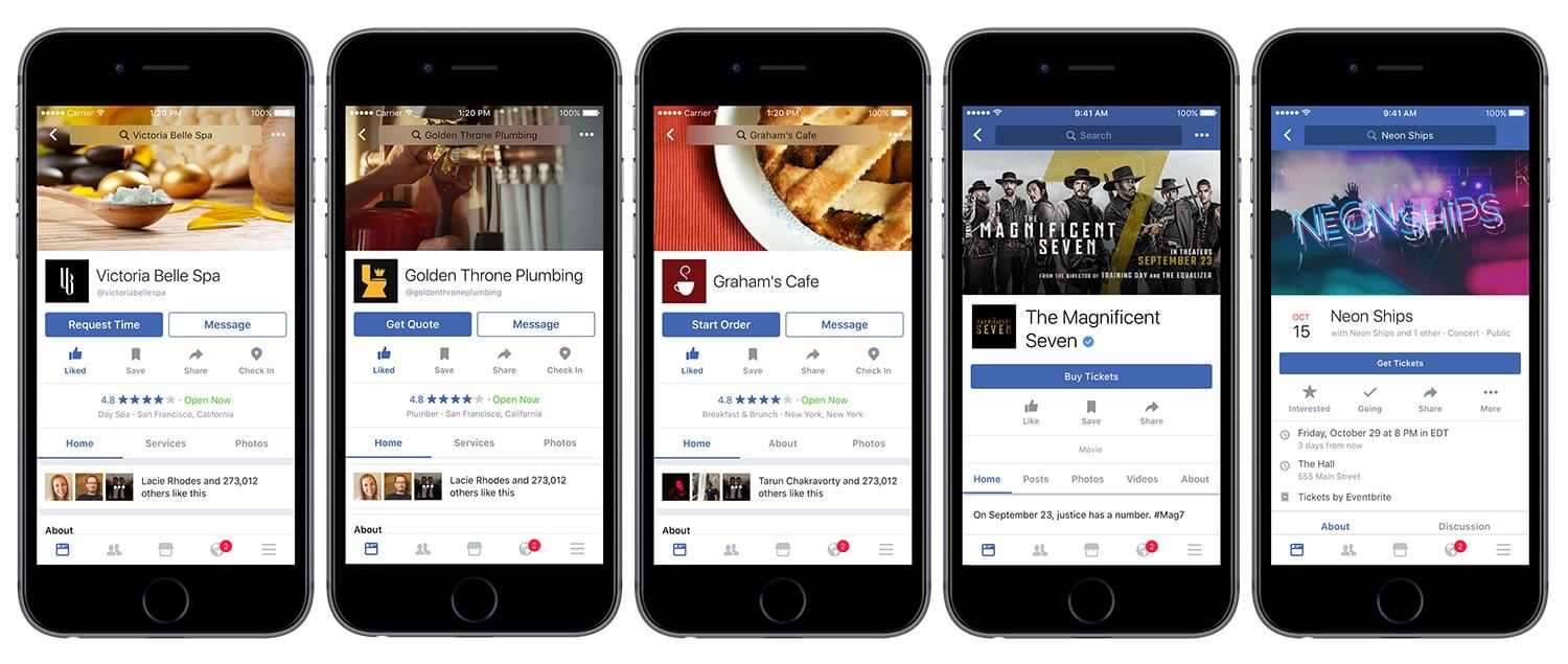Facebook Pages new calls-to-action