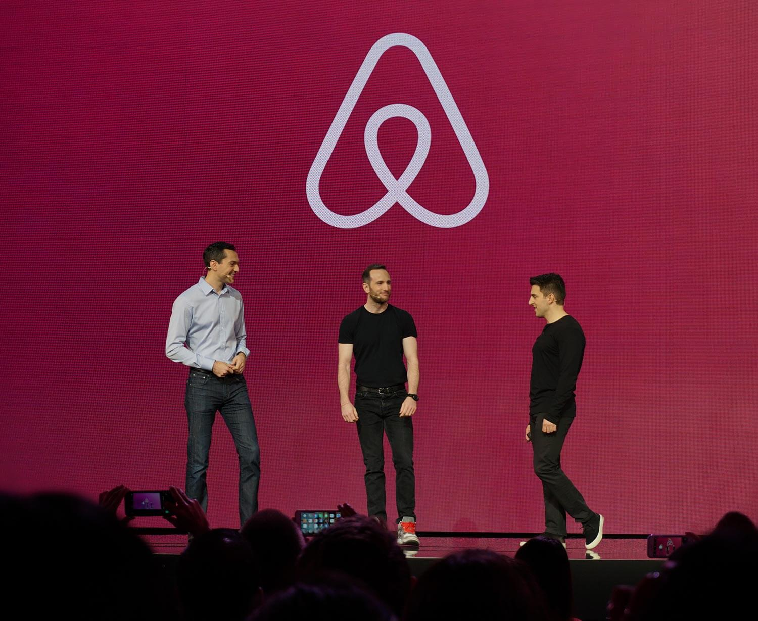 Airbnb cofounders appeared on stage at the company's host-centric conference on November 17, 2016.