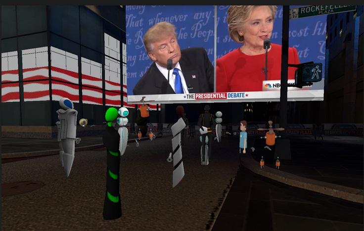 Watching a live presidential debate at virtual Rockefeller Plaza.