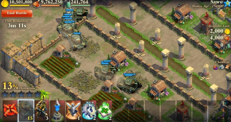Tanks roll through a town in DomiNations Atomic Age update.