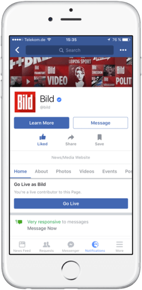 Example of a Live Contributor role on a Facebook Page.