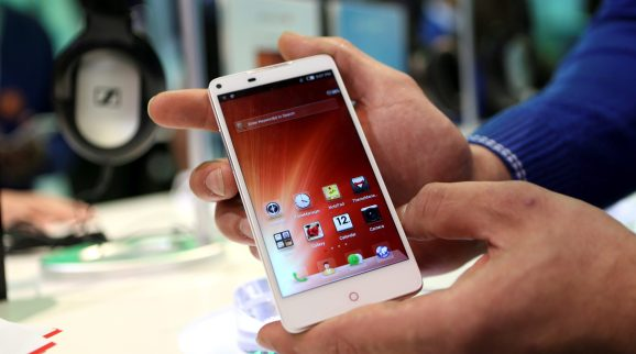 A ZTE phone is shown at the annual Consumer Electronics Show (CES