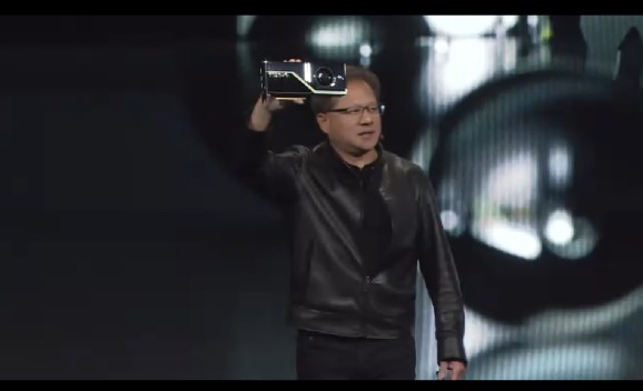 Jensen Huang of Nvidia shows off 10 GigaRay graphics card, the Quadro RTX 8000.