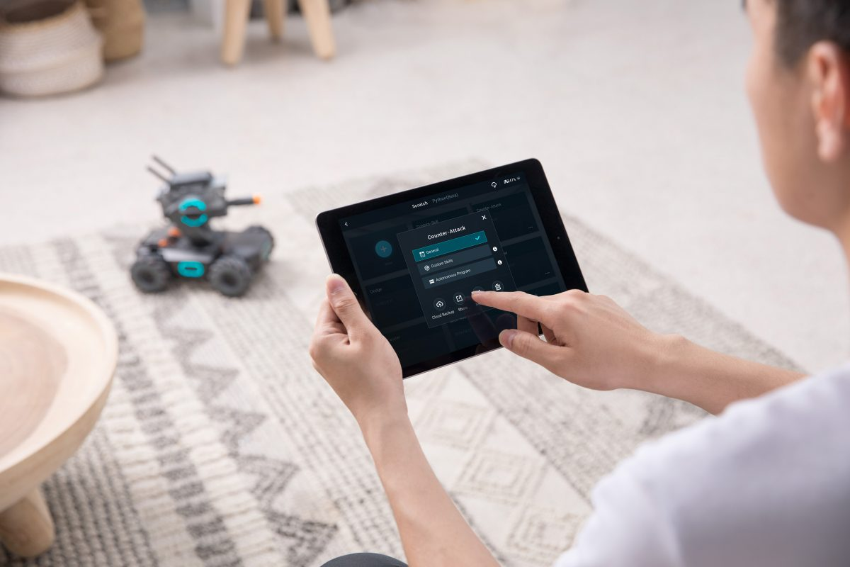DJI's RoboMaster S1 is a four-wheeled robot that teaches kids how to code