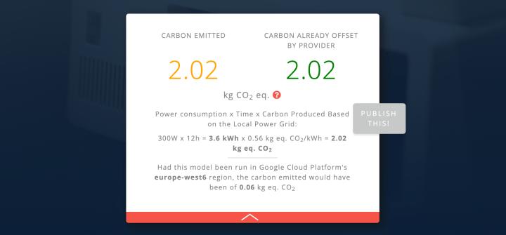 ML emissions calculator results