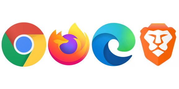 Chrome, Firefox, Edge, and Brave logos