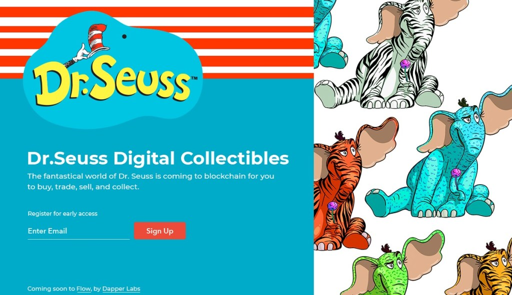 Dr. Seuss digital collectibles are based on blockchain technology.