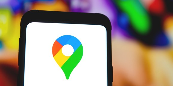 A Google Maps logo seen displayed on a smartphone.