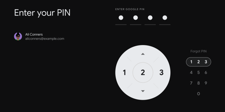 PIN entry on Android TV