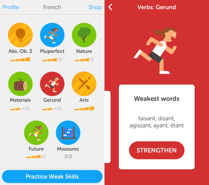 Duolingo words that need practice