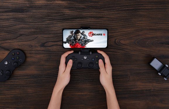 A controller clipped to a phone.