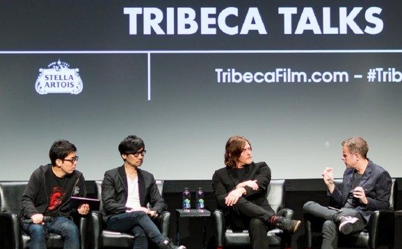 Geoff Keighley (right) interviews Norman Reedus (middle right) and Hideo Kojima (middle left) at the Tribeca Film Festival.