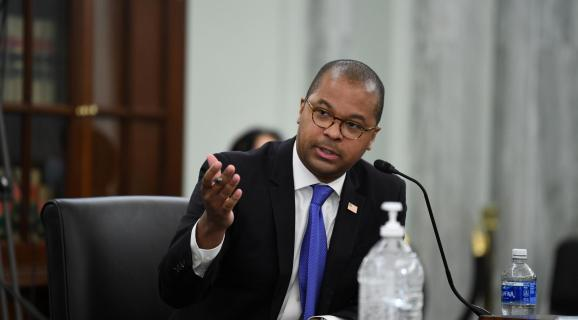 Commissioner of Federal Communications Commission Geoffrey Starks testifies during an oversight hearing held by the U.S. Senate Commerce, Science, and Transportation Committee for the FCC, June 24, 2020.