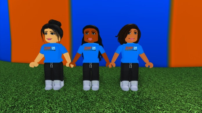 Cheerleaders inside the JDRF One World experience in Roblox.