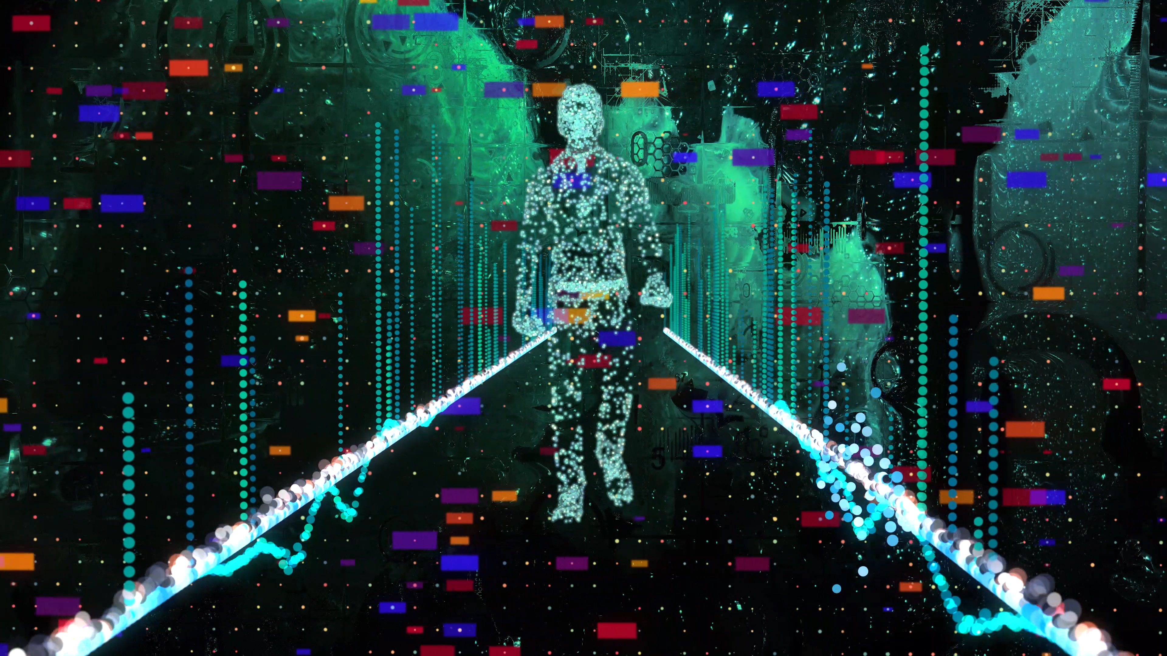 Man walking in wireframe drawing with data