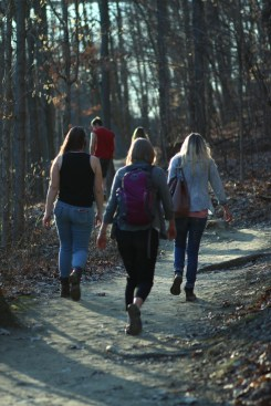 Haley, Ally and Dara walk on the Gorge Trail