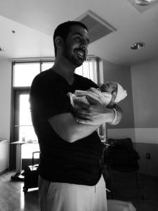 Jonathon with his new baby, Hunter, born this summer