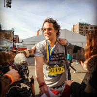 Will Ahmed, Founder & CEO of Whoop, finishing the 2016 Boston Marathon