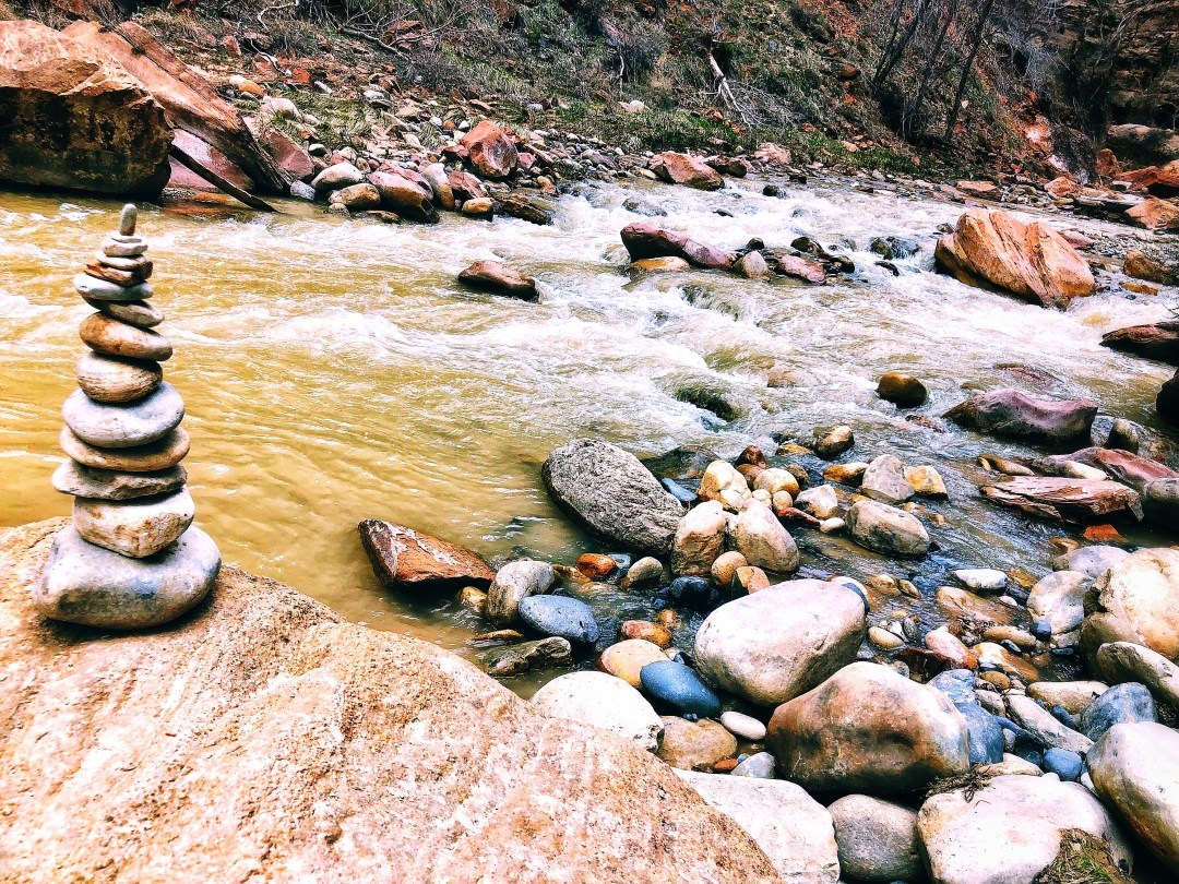 A cairn sitting on the banks of the Virgin River