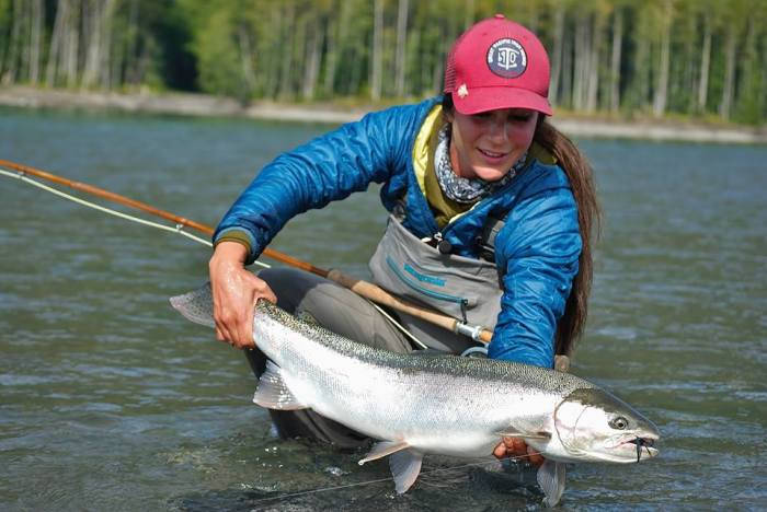 April Vokey with a nice steelhead on bamboo. (Credit: Adrienne Comeau)