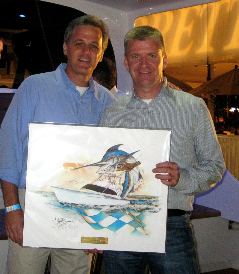 Steve & Nascar Star Jeff Burton at the debut of his sportfishing yacht
