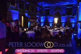 Blue uplighting in the Banqueting Hall