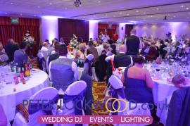 The Worsley Suite purple wedding uplighting