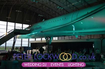 Concord at manchester airport with wedding lighting